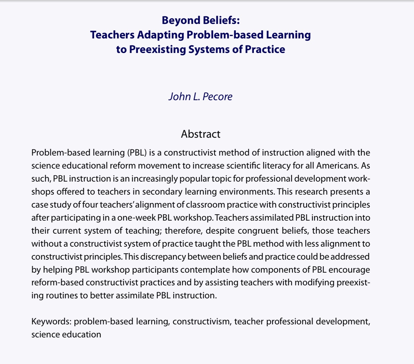 Research Articles on Math Education